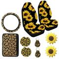 PROKTH 10PCS Car Front Seat Covers Sunflower Pattern Fashionable Soft Center Pad Covers Car Cup Holder Coaster Keyring