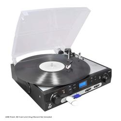 Upgraded Version Pyle Vintage Record Player, Classic Vinyl Player, Retro Turntable, MP3 Vinyl, Music Editing Software Included, Ceramic Cartridge, FM Tuner, MP3 Converter, 3 Speed - 33, 45, 78