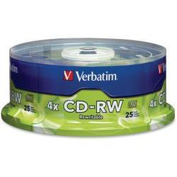 Verbatim CD-RW 700MB 2X-4X with Branded Surface - 25pk Spindle - CD-RW - 4x - 700 MB - 25pk Spindle BRANDED SPINDLE