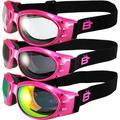 3 Pairs of Birdz Eagle Padded Womens Motorcycle Goggles Pink Frame Pink Mirror Clear + Smoke Lenses
