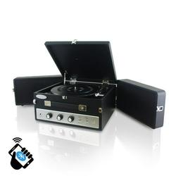 Pyle-Home Retro Vintage Classic Style BT Turntable Record Player with Vinyl-to-MP3 Recording, Black