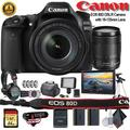 Canon EOS 80D DSLR Camera with 18-135mm Lens W/ Bag, Extra Battery, LED Light, Mic, Filters, Tripod, Monitor and More - Professional Bundle