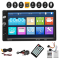 Stoneway 7-inch Multimedia Touch Screen Double DIN Car Stereo Receiver, 2 DIN bluetooth in Dash Car Video FM Radio Stereo Player Remote Control, Rear View Camera Support Mirror Link