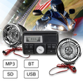 h Motorcycle Handlebar Audio System USB SD FM Radio Stereo MP3 Speakers Waterproof