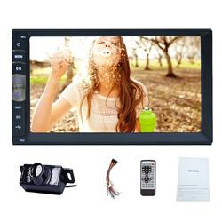 Bluetooth Double 2 Din Car Stereo Radio Autoradio Universal 7 Inch Capacitive Multi-touch Screen Car MP5 Player Audio Video Input Aux Input Hand Free Bluetooth Mirror Link + Free Backup Camera