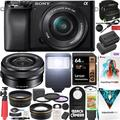 Sony a6100 Mirrorless Camera 4K APS-C ILCE-6100LB with 16-50mm F3.5-5.6 OSS Lens Kit and Deco Gear Case + Extra Battery + Flash + Wide Angle & Telephoto Lens + Filter Kit + 64GB Accessories Bundle