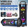 Stoneway Bluetooth Speakers, 40cm Long Portable Wireless bluetooth Boombox HIFI Stereo Super Bass Subwoofer Built-in Mic Support AUX USB FM TF with Phone Holder - RGB Colorful Lights