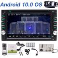 Android 10.0 Double 2 Din Car Stereo with DVD Player Touch Screen Bluetooth 6.2 Inch GPS Navigator In Dash Headunit AM FM RDS Radio Multi-Color Buttons WiFi External Mic Backup Camera USB SD Port