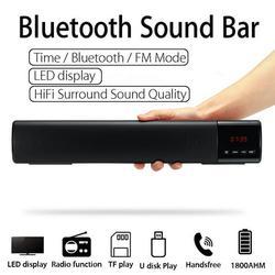 Portable Wireless Sound Bar Stereo HiFi bluetooth Speaker 3D Surround Home Subwoofer Soundbar with LED Display, Suport Clock/FM/TF/USB/AUX