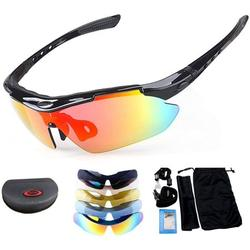 TOTMOX Polarized Sports Sunglasses Unisex with UV 400 Protection Frame & Five Interchangeable Lens