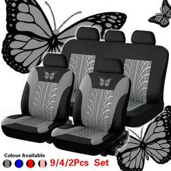 Butterfly Embroidery Car Seat Covers Full Car Seat Cover Car Cushion Case Cover Car Accessories Car Seats(2/4/9PCS)