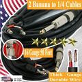 2x 1/4 to Bananan16 Gauge 50 Feet Premium DJ / PA Pro True Speaker Cable Wire