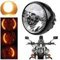 Akozon Motorcycle Headlight Turn Signal, Motorcycle Headlight, Universal Motorcycle Motorbike Headlight Turn Signal Light Bulb with Bracket