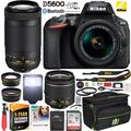 Nikon D5600 DSLR Wi-Fi Digital SLR Camera with Double Zoom 2 Lens Kit AF-P 18-55mm VR & 70-300mm ED + 0.43x Wide Angle Lens + 2.2x Telephoto Lens + Deco Gear Case + Extended Warranty Accessory Bundle