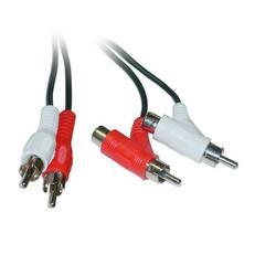C&E RCA Audio Piggyback Cable, 2 RCA Male to 2 RCA Male + RCA Female Piggyback, 6 Feet