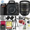 Nikon D750 DSLR 24.3MP Digital Camera w/ AF-S NIKKOR 24-120mm f/4G ED VR Lens Bundle with 64GB Memory Card, Rechargeable Li-Ion Battery and Accessories (12 Items)