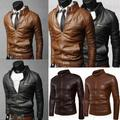 Men Fashion Vintage Motorcycle Jackets Collar Slim Motorcycle Leather Jacket