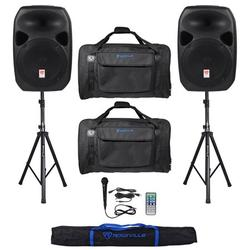 """Rockville RPG122K Dual 12"""" Speakers w/Bluetooth+Mic+Stands+Cables+Carry Bags"""