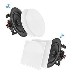 10 Inch BT Ceiling / Wall Speaker Kit, (4) Flush Mount 2-Way Home Speakers, 300 Watt (4 Speakers)