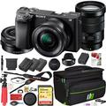 Sony a6400 4K Mirrorless Camera ILCE-6400L/B with 16-50mm f/3.5-5.6 and 18-105 mm F4 G OSS Lens 2 Lens Kit and Deco Gear Travel Case Photography Maintenace Set 2x Extra Battery Essential Bundle