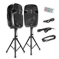 """Active + Passive PA Speaker System Kit - Dual Loudspeaker Sound Package, 12"""" Subwoofers, BT Wireless Streaming, Includes (2) Speaker Stands, Wired Microphone, Remote Control, 1800 Watt"""