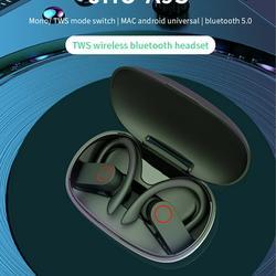 Sports Bluetooth Wireless Earbuds, 5.0 TWS HD Stereo Sound Noise Cancelling Bluetooth Earbuds, Ear-Hook Wireless Headset w/Storage Integrated Zipper Bag, IPX5 Waterproof Headphones for Sport, S10460