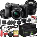 Sony a6400 4K Mirrorless Camera ILCE-6400L/B with 16-50mm f/3.5-5.6 and 85mm F1.8-22 Prime 2 Lens Kit and Deco Gear Travel Case Photography Maintenace Set 2x Extra Battery Essential Bundle