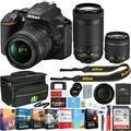 Nikon D3500 24.2MP DSLR Camera w/ AF-P 18-55mm VR Lens & 70-300mm Dual Zoom Lens - (Renewed) + 16GB Bundle