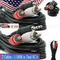 2x 6 Feet 3.5MM to Dual RCA Audio Video Adapter Wire Jack Composite A/V Cable