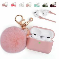 For Airpods Pro Case, LUXMO Airpod Case Cover for Apple Airpods Pro Charging Case, Silicone Protective Case with Airpod Pro Accessories Keychain/Skin/Pompom/Strap