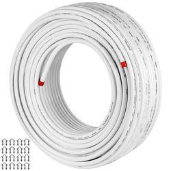 VEVOR PEX AL PEX Tubing 82ft Length PEX Tube White Color Barrier PEX -10 to 90? Aluminum PEX Tubing Radiant Floor Heating tube 1.0MPa Pressure PEX Roll 12mm ID 16mm OD PEX Radiant Floor Plumb Pipe