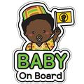 GEEKBEAR Baby on Board Sticker and Decal (Afro-American Boy, 1 Pack) - Baby Bumper Car Sticker - Baby Window Car Sticker - Baby in Car Sticker - Cute Safety Caution Decal Sign for Cars