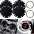 Bling Decor Crystal Rhinestone Car Cup Holder Coaster Insert Cup Mat,Car Bling Ring Emblem Sticker Bling Car Accessories for Home and Interior Car Decor Accessory