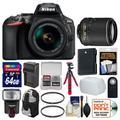 Nikon D5600 Wi-Fi Digital SLR Camera & 18-55mm VR DX AF-P with 55-200mm VR Lens + 64GB Card + Backpack + Flash + Battery & Charger + Flex Tripod Kit