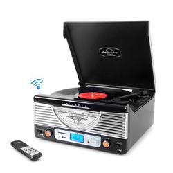 Retro Vintage Classic Style BT Turntable Vinyl Record Player with USB/MP3 Computer Recording (Black)