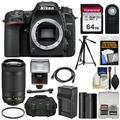 Nikon D7500 Wi-Fi 4K Digital SLR Camera Body with 70-300mm VR AF-P Lens + 64GB Card + Battery + Charger + Case + Tripod + Flash + Kit