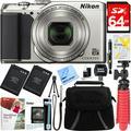 Nikon A900 20MP Longest Slim Zoom COOLPIX WiFi Digital Camera with 4K UHD Video 35x Telephoto NIKKOR Zoom Lens + 64GB Dual Battery Accessory Bundle (Silver)