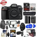 Nikon D500 Wi-Fi 4K Digital SLR Camera Body with 64GB Card + Backpack + Flash + LED Light + Mic + Battery & Charger + Grip + Kit