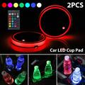 2Pcs Car Led Cup Holder, TSV 16 Colors Car LED Cup Coasters Pad, USB Charging Car Cup LED Mat for Drink, Waterproof Car Interior Cup Holder Coaster Atmosphere Light for Decoration, with Remote Control