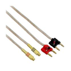 IEC L74257-01 14 AWG Speaker wire pair with RCA Female (Black & Red) to 2 pair Stackable Banana Plugs - 1 Foot