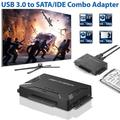 """USB 3.0 to IDE / SATA Converter Hard Drive Adapter with Power Switch for 2.5""""/3.5""""SATA HDD/SSD & IDE HDD Drives Optical Drive, Support 5TB"""