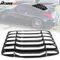 Ikon Motorsports Compatible with 03-08 Nissan 350Z IKON Style Rear Window Louver Sun Shade Cover Windshield Vent - Gloss Black 2003 2004 2005 2006 2007 2008