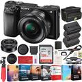 Sony Alpha a6000 Mirrorless Digital Camera 24.3MP SLR (Black) with 16-50mm Lens ILCE-6000L/B 2x Extra Battery 128GB Memory Deco Gear Case Filter Kit Editing Suite Performance Bundle