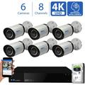 GW 8 Channel 4K NVR 8MP (3840x2160) H.265+ Sony Starvis Starlight Smart AI Security Camera System - 6 x UltraHD 4K Human Detection PoE IP Bullet Camera - 8MP (Two Times The Resolution of 4MP HD)