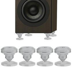 LYUMO 4 Pcs HiFi Speaker Isolation Spikes AMP DAC CD Feet Cones Stand Base Pads Shockproof, speaker spike pads, speaker spike feet