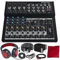 Mackie Mix Series Mix12 12-Channel Compact Mixer and Deluxe Bundle with Closed-Back Headphones + XLR Cable + 1/4 Cable + More