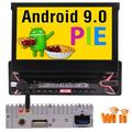 """""""1 Din Car Radio Retractable & Detachable 7"""""""" LED Backlit LCD Touchscreen Single DIN Car Stereo Receiver with Android 9.0 Pie OS, Built-in Bluetooth, WiFi, USB, MicroSD Card & MP3 Player"""""""