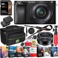 Sony a6100 Mirrorless Camera 4K APS-C ILCE-6100LB with 16-50mm F3.5-5.6 OSS Lens Bundle with 2x Battery + Deco Gear Travel Bag Case + 64GB Memory Card + Photo Video Software Kit + Accessories