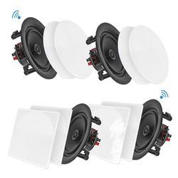 8 Inch BT Ceiling / Wall Speaker Kit, Flush Mount 2-Way Home Speakers, 250 Watt (4 Speakers)