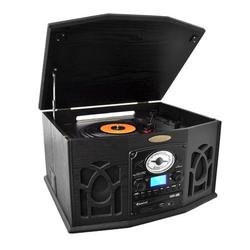Pyle BT Vintage Style Turntable Record Player with Vinyl-to-MP3 Recording in Black